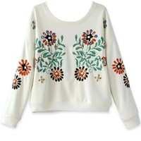 Bejeweled Floral Embroidered Sweatshirt - OASAP.com