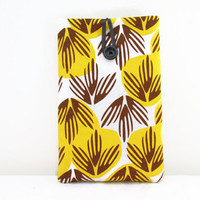 Retro print 7 inch tablet sleeve , yellow and brown hand printed fabric cover case suitable for kindle touch paperwhite nexus 7 , uk seller