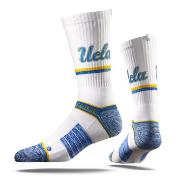 Strideline® 2.0 White Bruin, UCLA Bruins White–Gold–Blue Crew Socks