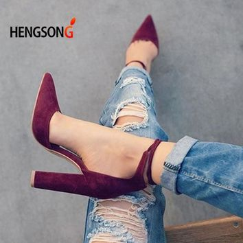 6 Colors Pointed Strappy Pumps Sexy Retro High Thick Heels Shoes 2107 New Woman Shoes