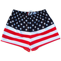 Womens American Flag 50/50 Flag Track Shorts