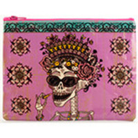 "Blue Q Zipper Pouches Day of the Dead 9 1/2"" x 7 1/4"" 95% Post Consumer Recycled Material"