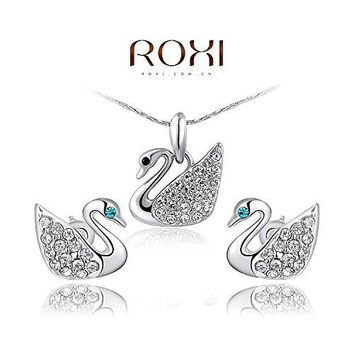 GDSTAR s Elegant Statement Platinum Rose Gold Plated Cute Swan Set Earrings+Necklace Jewelry Party LU