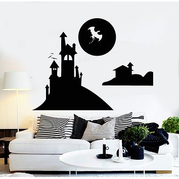 Vinyl Wall Decal Fairy Tale Dragon Castle Nursery Fantasy Kids Art Stickers Mural (g330)