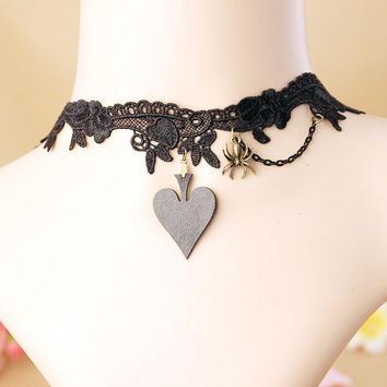 JEWELRYGIFT Lolita Punk The Queen of Spades Choker Necklace Black Victorian Style Spider Vampire Steampunk Torques Jewellery