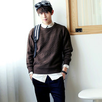 Solid Knit Long Sleeve Pullover Sweater