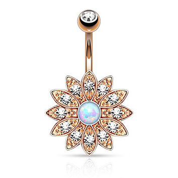 Flower with Opal Center Belly Button Navel Rose Gold Ion Stainless Steel Ring B300