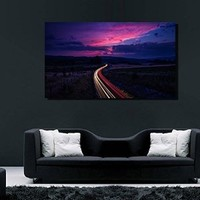 canik55 Canvas Print Artwork Stretched Gallery Wrapped Wall Art Painting road route sunset Size 26x46""