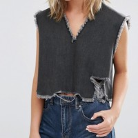 Waven Petite Frayed V Neck Denim Crop Top at asos.com