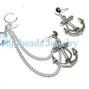 Beach Love Chain Ear Cuff Earrings Set