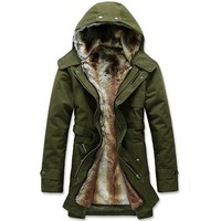Winter Casual Stylish Mid Long Thicken Detachable Hood Jackets for Men