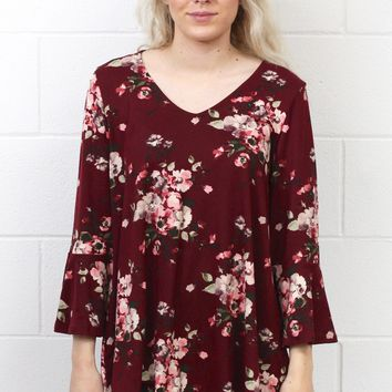 Soft Spot for Florals Suedette Bell Sleeve Top {Burgundy} EXTENDED SIZES