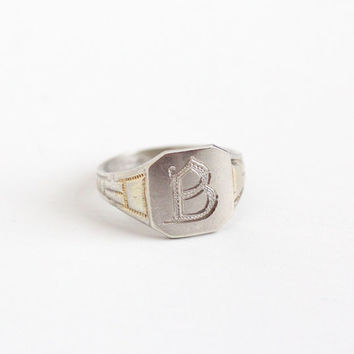 Vintage Sterling Silver & Yellow Gold Art Deco Letter B Signet Ring - 1920s Size 6 Initial B Geometric OB Ostby Barton Titanic Rare Jewelry