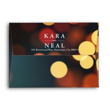 Chic Teal Gold Bokeh Glitter String Lights Wedding Envelope