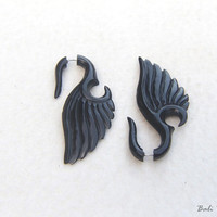Fake Gauge Horn Earring, Seraphim Wings Earring Horn Carving Fake Gage Piercing Earrings
