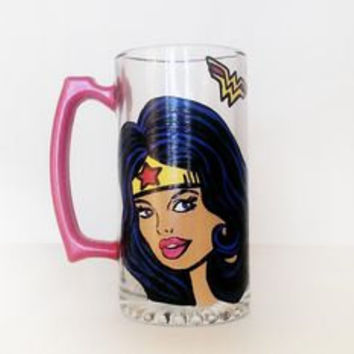 Wonder Woman Beer mug - hand painted - very detailed and high quality