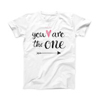 The You Are The One ink-Fuzed Front Spot Graphic Unisex Soft-Fitted Tee Shirt