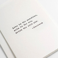 Quote card, Ralph Waldo Emerson quote card, hand printed