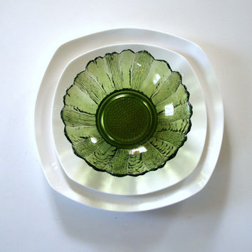 7 ANTIQUE DEPRESSION GLASS Bowls 1930s Indiana Glass Lily Pon Sunflower Pattern Avocado or Olive Green Tabletop Flower Floral Glassware