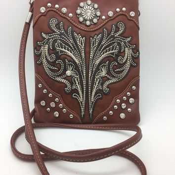 Cross Body Concho Bag Purse Western American Bling Leather Messenger Handbag