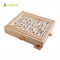 Rotary Knob Wooden Labyrinth Board Game Ball In Maze Puzzle Handcrafted Toys Children Educational Toys Rolling Beads For kids
