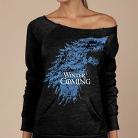 "WOMEN'S SWEATSHIRT SALE Winter Is Coming Game of Thrones Soft Sexy Eco-Fleece Alternative Apparel Black ""Maniac"" Sweatshirt Boatneck"