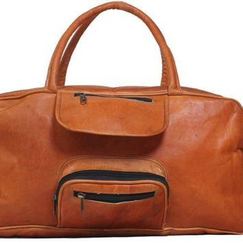 IN-INDIA Hard Bound Rustic Leather Light Weight Duffel Travel Bag 20 inch