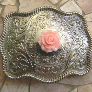 Floral Silver Belt Buckle,  Western Womens Southwestern Country Pink Rose Buckle, Flower Belt, Girls Belt Buckle, Cowgirl Rockabilly Rose