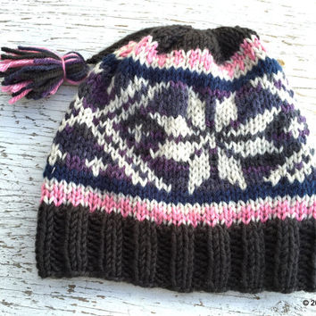 SNOWFLAKE HAT, WHITE Snowflakes, Pink and Purple, Knit Hat, Tassels, Unique Hats, Pom Pom Hat, Adult Hats