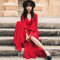 Stunning Red Retro Style V Neck Maxi Dress. Red Evening Gown Cocktail