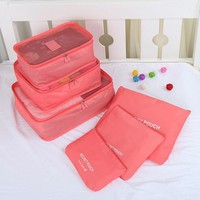 6pcs Nylon Packing Cube Women Men Travel Bag Waterproof Luggage Clothes Tidy Pouch Organizer Large Capacity Durable Duffle Bags