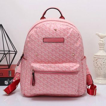 DCCKJ1A Goyard Women Leather Bookbag Shoulder Bag Handbag Backpack Pink
