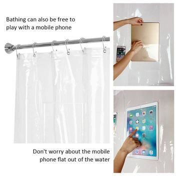 Clear Shower Curtain with Pockets for Touchscreen Devices