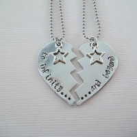 Custom aluminum broken heart necklace set hand stamped to infinity..., and beyond... star charm toy story stainless steel chain