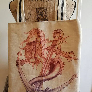 Mermaid - anchor - sexy - nautical -  Sailor - pinup - rockabilly  - Retro - kitschy - canvas - lined - beach - bag - purse - tote