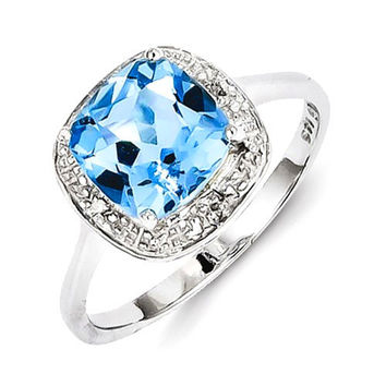 Sterling Silver Rhodium Plated Diamond & Cushion Light Swiss Blue Topaz Ring