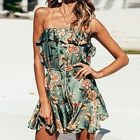 Strapless Women Playsuits Ruffle Bohemian Rompers Casual Party Short Jumpsuits Romper