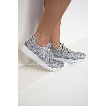 Glitter Bomb Tennis Shoe | Silver| Best Seller