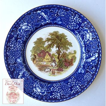 Blue & Brown Polychrome 2 Color Transferware Plate Rural Scenes -Hunting & Floral Scene - Royal Staffordshire - Hand Painted