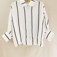 White Striped Loose Polo Shirt