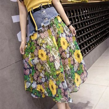 PEAP78W 2017 Summer Plus size Patchwork Denim Chiffon Printed Long Skirts Womens irregular Denim Skirt saia skirts womens saias faldas