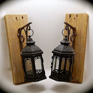 "Rustic Sconces, Handmade Sconce Pair, Reclaimed Wood with Large Lantern Style Candle Sconces 16"" Tall 5.5"" across, 9"" wide- Lanterns 11""tall"