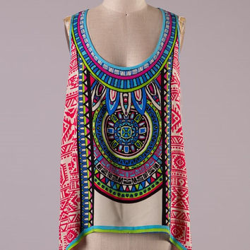 Flying Tomato Red Aztec Print Tank Top