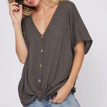 Button down knit top with knot detail