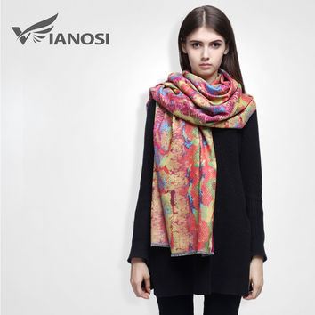 [VIANOSI] Luxury Brand Winter Silk Women Snake Printed Scarf Female Foulard Cashmere Shawl Scarves  VS016