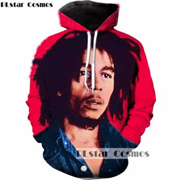 PLstar Cosmos 2018 Fashion Reggae originator Bob Marley 3D Hoodies Print men women Hooded Sweatshirt Streetwear Pullovers