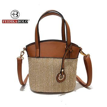 New Summer Round Rattan Handmade Bag Bohemian Leisure Straw Bag bucket knitting Shoulder Cross body Knitting Beach Bag