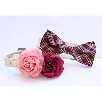 Burgundy Pink wedding dog collar - Bridesmaid & Best Man - Two dog Collars