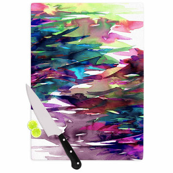 "Ebi Emporium ""Fervor 4"" Magenta Abstract Cutting Board"