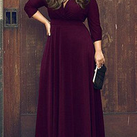 Purple V-Neck Plus Size Maxi Waist Dress